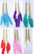 1 PAIR SPRING CLIP-ON Colored FEATHER+Bead+Rhinestone DANGLE EARRINGS Goldtone