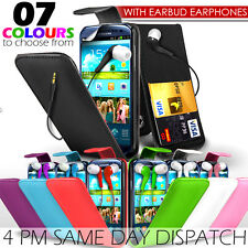 LEATHER FLIP SKIN CASE COVER,FILM & EARPHONES FOR SAMSUNG I9300  GALAXY S 3 III