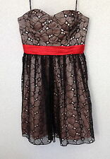 PHOEBE COUTURE BY KAY UNGER BEAUTIFUL BLACK RED SASH PARTY DRESS NWTS RET $350.