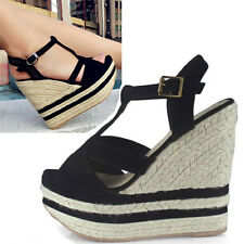 Womens Espadrille T Wedge Sandals Shoes Size 3021#