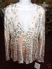 Cubism Sweater/V-neck Animal Print/Peach/Pink/Gray Long Sleeves/Size Small NWT