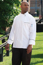 Luxembourg Executive White W/ Black Piping Chef Jacket, XS to 6XL, 0455EC