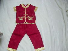 BN boys chinese costumes 2 piece set for 7-8 age RED WINE with  trimmings
