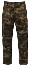 woodland camo bdu pants relaxed fit zipper fly cargo pants rothco 2941