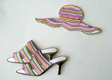 FASHION / LADY SHOE & HAT EMBROIDERED IRON ON APPLIQUE / PATCH ~ FINAL SALE!!!
