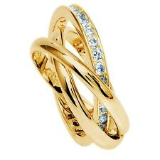 Russian Wedding Band/Rolling Ring with Diamond  set In 18ct Gold Filled