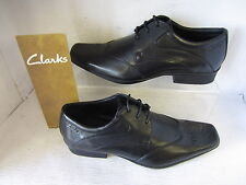 MENS CLARKS SHOES AFFIX MOSCOW LACE UP BLACK FITTING G / WIDE LEATHER UPPER