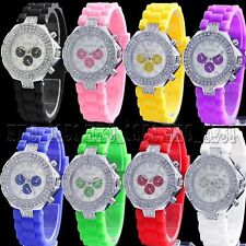 2 Circles Jelly Crystal Silicone Womens Sport Fashion Ladies Quartz Wrist Watch