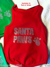 """Santa Paws"" Unisex Dog Cat Red Or Green Christmas Holiday Cotton Tank Shirt"