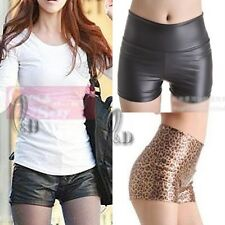 AU SELLER High Waist Leather Look Stretch Shorts Sexy pants  SZ S-L/AU6-14 P132