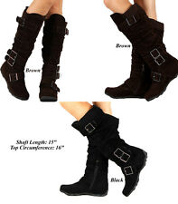 Women's Flat Heels Faux Suede Casual Comfort Walking Riding  Knee High Boots