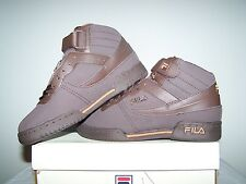 Women's NEW Fila F-13 GEM FB/SYN Brown Shoes with Silver and Orange Trim