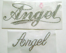 WORD /  ANGEL  ~ RHINESTONE IRON ON APPLIQUE / HOT FIX TRANSFER