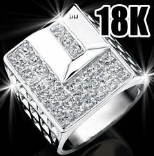 REAL 18K WHITE GOLD PLATED MASSIVE PRESIDENT MENS DATEJUST CZ HIP HOP RING SZ 11