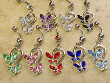 Double Butterfly CZ Gems Dangle Belly Ring Navel Naval