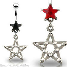 Gothic Star CZ Gem Dangle Belly Ring Navel Naval Black, Red