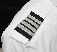 AEROPhoenix Professional Pilot Uniform Epaulets - Four Silver Bars - Captain