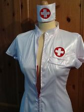SEXY NURSE OUTFIT ZIP UP FRONT FANCY DRESS COSTUME DRESS HAT DRESS UP ROLE PLAY