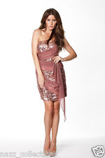 COPPER SEQUIN GRECIAN DRAPE EVENING COCKTAIL PENCIL FITTED DRESS UK 8 -16