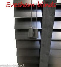 MADE TO MEASURE BLACK 35MM WOODEN VENETIAN WINDOW BLIND WITH TAPES REAL WOOD