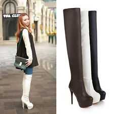WOMENS PLATFORM OVER KNEE HIGH HEELS LONG BOOTS SIZE 8021#