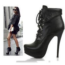 Womens Platform Lace Ankle High Heels Short Boots Black Size 2016#