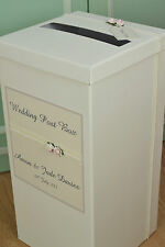 Personalised Wedding Post Box. Ivory or Cream. Pearl Lace & Rose Design