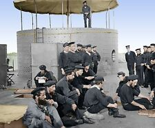 Monitor Ironclad Sailors Navy Ship Color Tinted photo Civil War 01062