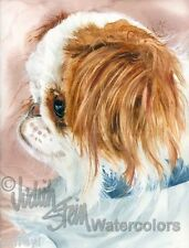 """Red & White Japanese Chin Art Print of Watercolor Painting """"Birdcage Dog"""""""