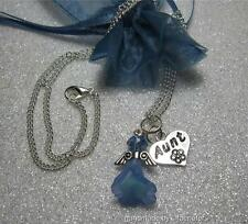 Aunt angel necklace with crystal angel and heart charm gift mother's day aunty