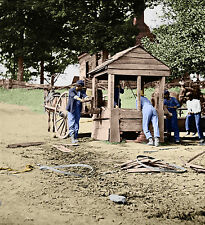 Soldiers Water Cart Well Horse Color Tinted photo Civil War 01838
