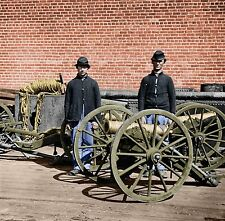 Artillery Soldiers Cannon Howitzers  Color Tinted photo Civil War 02492