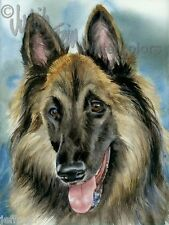 Belgian Tervuran Dog Art Print of Watercolor Painting Artist Judith Stein Signed