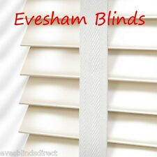 PREMIUM MADE TO MEASURE CREAM WOODEN VENETIAN BLIND WITH TAPES 35MM REAL WOOD