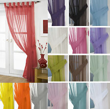 Plain Voile Curtain Panel Tab Top – FREE Tieback - White Cream All Colours – Net