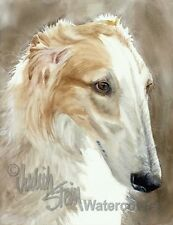 Borzoi Russian Wolfhound Art Print Watercolor Painting Artist Signed QUICK DOG
