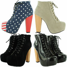 NEW LADIES COMFY LACE UP BLOCK HIGH HEELS PLATFORM BOOTS COURT SHOES UK SIZES