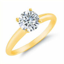 ROUND DIAMOND SOLITAIRE RING 14K YELLOW GOLD SIZES 5 TO 10 ( 1/4, 1/2, 0.90 CT )