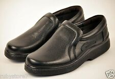 Men's Black Restaurant Work Shoes Genuine Leather Slip & Oil Resistant Wide 228