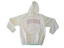 WISCONSIN BADGERS OFF-WHITE/PINK LADIES EMBROIDERED HOODED SWEATSHIRT NWT*