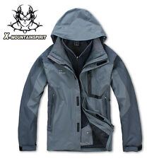 New Men Ski Snow Climbing Hiking Waterproof Soft Shell Inner 3IN1 Outdoor Jacket