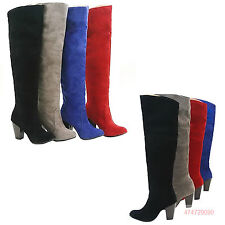 HOT! NEW Women's Faux Suede Thick High Heel Knee Boots Shoes AU All Size Y001