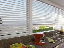 "Custom White WIDE SLAT NO HOLE PRIVACY 2 1/2"" Faux Wood Blind FREE SHIPPING!"