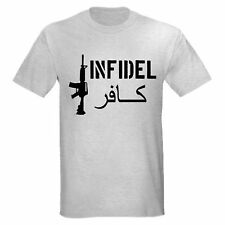 INFIDEL COLT ASSAULT RIFLE AR-15 PRO GUN USMC T-SHIRT
