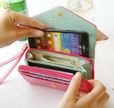 PU Leather Clutch Wallet Purse Card Bag Cover Case for iphone4s 5 Samsung i9100