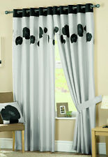 danielle black & silver lined eyelet (ring top) curtains