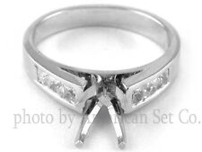 14K WHITE GOLD CHANNEL SET CATHEDRAL DIAMOND ENGAGEMENT RING SOLITAIRE SETTING