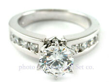 PLATINUM ROUND CHANNEL SET DIAMOND ENGAGEMENT RING SOLITAIRE SETTING
