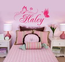 Personalized Name & Butterflies Vinyl Wall Decal Sticker Decor