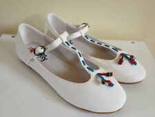 NEW $49 I LOVE BILLY Womens Crinkle MaryJane Ballet Flats White Girls Shoes Flat